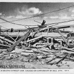 A destroyed telegraph pole and tram car marked the entrance to the Devastated Area