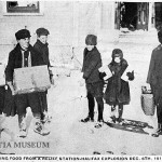 Children loading up on food for their injured parents